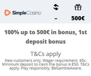 Featured bonus from Simple Casino